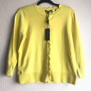 Scalloped edge yellow button up cardigan size M